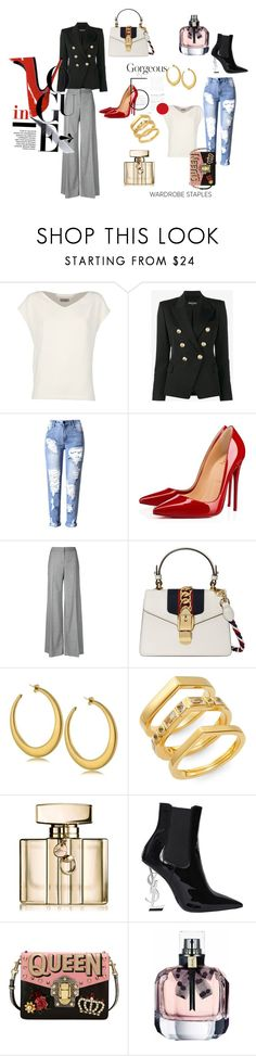"""""""#Wardrobe Staples"""" by charity-blossom on Polyvore featuring Alberto Biani, Balmain, Christian Louboutin, Alexander McQueen, Gucci, Elizabeth and James, Yves Saint Laurent and Dolce&Gabbana"""