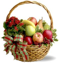 Order Holiday Fruit Basket holiday fruit basket from White's Flowers, your local Calgary florist. For fresh and fast flower delivery throughout Calgary, AB area. Fruit Flower Basket, Plant Basket, Fruits Basket, Holi Gift, Gourmet Gift Baskets, Food Baskets, Wine Baskets, Fruit Gifts, Get Well Soon Gifts