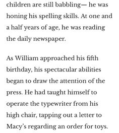 William James Sidis, Williams James, Newspaper, Spelling, Teaching, Journaling File System, Learning, Games, Education