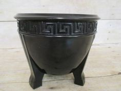 VINTAGE BLACK GLASS 3 FOOTED URN PLANTER W GREEK KEY DESIGN NICE SIZE AMETHYST