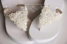 BRIDAL Flip Flops Bridal sandalsWEDDING Flip by Glamtouchboutique, $30.00
