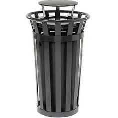 Global™ Outdoor Metal Slatted Trash Receptacle with Rain Bonnet Lid - 24 Gallon Black