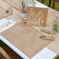 Are you inviting children to your wedding? This set has everything you need to keep the little ones entertained during the speeches. 1 activity pack contains, 8 activity place mats, 3 packs of crayons and 1 kids table sign. If all children are sitting on a dedicated kids table you can set out the pace mats at each plac