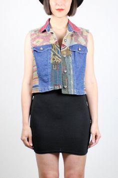 Vintage 90s Denim Vest Jean Vest Patchwork Southwestern Tapestry Vest 1990s Jean Jacket Crop Top Denim Soft Grunge Vest M Medium L Large by ShopTwitchVintage #vintage #etsy #1990s #90s #denim #vest #jacket #softgrunge #patchwork