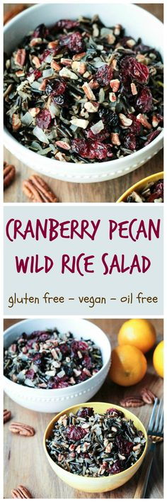 Cranberry Pecan Wild Rice Salad - nutty, tangy and a little sweet, this protein packed side dish would be perfect on your holiday table. It would also make a hearty and filling, yet light, lunch anytime of the year.