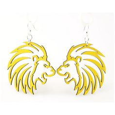 Lions - Laser Cut Wood Earrings ($13) ❤ liked on Polyvore
