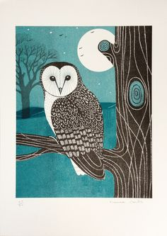 """Shapwick Barn Owl"" by Frances Castle (Risograph Print)"