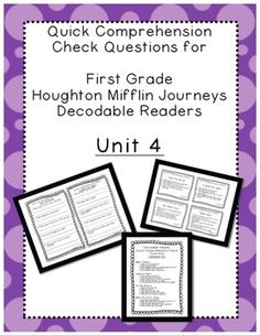 This product contains comprehension questions for each of the decodable readers that come with the Houghton Mifflin Harcourt Journeys curriculum for UNIT 4. There are four decodable readers for each lesson (so 20 stories in all), and five comprehension questions for each decodable reader.