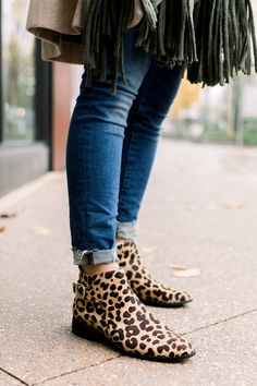 a6a118ecaaea Leopard Booties - Cozy Fringe Scarf - What to wear to wine country in the  winter