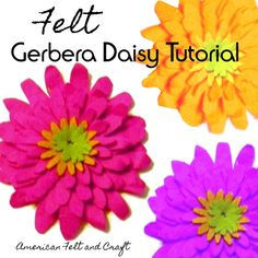 Felt Gerbera Daisy pattern and tutorial . Felt Food Patterns, Paper Flower Patterns, Felt Flowers, Fabric Flowers, Paper Flowers, Diy Flowers, Spring Flowers, Felt Diy, Felt Crafts