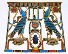 """The Princess Sithathor, """"Sithathor A"""", was a daughter of Khakaure Senwosret III. This pectoral comes from her tomb in the lower galleries of the pyramid complex of her father at Dahshur. Her grandfather's name, Khakheperre Senwosret II is the central feature."""