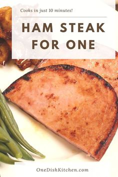 A delicious ham steak is an easy way to enjoy a ham dinner without cooking a whole ham. Cooked in a skillet, a small ham steak cooks in just 10 minutes!