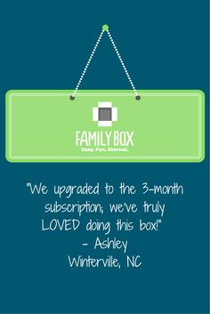 Helping families have fun and make an eternal difference - that's what this is all about! #TheFamilyBox #Testimonials