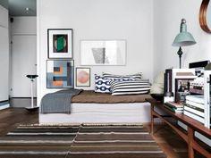 Home tour - Fabulous Stockholm home via Purodeco #bed #livingroom