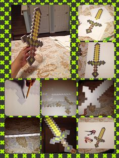 DIY Minecraft sword! $1, 20x30 foam bard from Dollar Tree made 2 swords. I layered 2 templates together for stability. Got free template on line. Saved me $25 from buying one for my son's Halloween Costume!