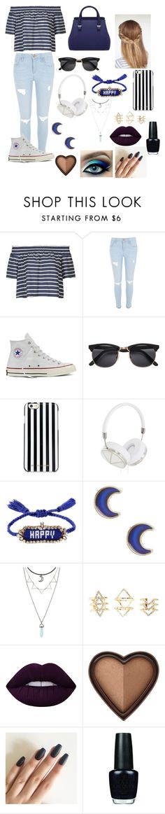 """""""Stripes"""" by prettylittlefandom ❤ liked on Polyvore featuring Topshop, River Island, Converse, MICHAEL Michael Kors, Frends, Shourouk, claire's, Charlotte Russe, Lime Crime and Too Faced Cosmetics"""
