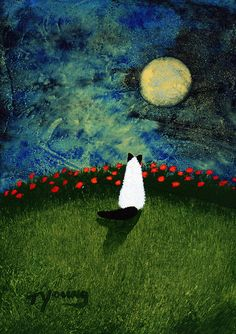 "Ragdoll Himalayan CAT Folk art print by Todd Young by ToddYoungArt. ""Moon Poppies"""