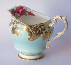 Paragon 1930's Eau de Nil, Creamer. Lavishly decorated with rococo style gilding and a vibrant floral spray. For Sale Etsy £22.99, International Shipping Available #paragon #creamer #ArtDeco