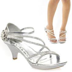 Sexy Silver Rhinestone Velcro Evening Wedding Prom Med Heel Sandal Shoe US 8 #Delicacy #Strappy