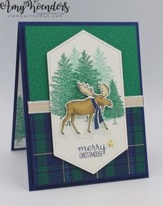 Stampin' Up! Merry Moose Christmas Card – Stamp With Amy K I used the fun Merry Moose stamp set bundle from the upcoming 2019 Stampin' Up! Holiday Catalog to create a Christmas card to share with you today. Homemade Christmas Cards, Stampin Up Christmas, Homemade Cards, Handmade Christmas, Merry Christmas Card, Xmas Cards, Holiday Cards, Christmas Moose, Christmas 2019