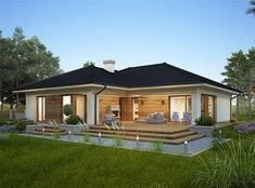 Design of the Oceania II one-story house with an area with a spacious garage, with a roof . Bungalow Haus Design, Modern Bungalow House, Rustic Houses Exterior, Bungalow Exterior, House Construction Plan, Village House Design, Beautiful House Plans, Rustic Home Design, Story House