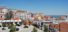 """Esplanada Portas do Sol. This is Lisbon's best """"balcony,"""" overlooking Alfama, the river, and the passing trams."""