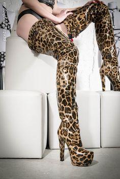Leopard print thigh boots