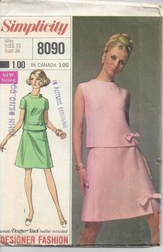 Simplicity 8090 Misses Princess Seamed Two-Piece Dress A Line Bow Trimmed Skirt Bow Trimmed Blouse Vintage Sewing Pattern Bust 34 by GreyDogVintage on Etsy Motif Vintage, Vintage Dress Patterns, Blouse Vintage, Vintage Dresses, Vintage Outfits, Vintage Diy, 1960s Fashion, Vintage Fashion, Fashion 2020