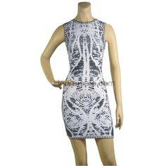 Herve Leger Round-neck Printed Black&White Bandage Dress HL580BW