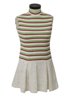 late 60s -Ruth of Carolina- Womens white background with green, yellow, blue and red horizontal stripe print on vertical texture woven bodice and stipple weave print drop waist skirt double knit polyester tank cut mini dress with thin rounded stand up collar, rear zip closure and box pleated skirt. 31 inch overall length -from shoulder, down bodice, to hem.-