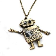 cute kitsch robot necklace