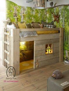 Loft bed with house