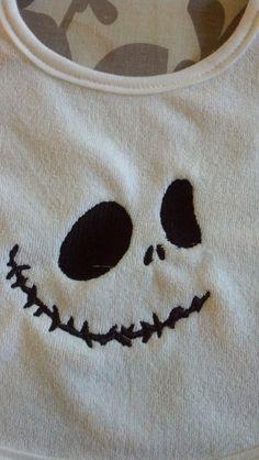 Jack Skellington, Nightmare Before Christmas Embroidered Baby Bib. $9.00, via Etsy.