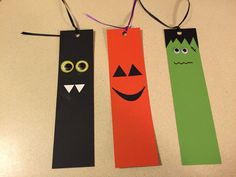 Halloween DIY bookmarks! A bat, jack-o-lantern, and a Frankenstein. I prepared all the materials at home before a 2nd grade class party and the kids were able to put these bookmarks together mostly on their own. Some needed some help with the hole punch and tying the ribbon at the top. The kids absolutely loved doing this craft!