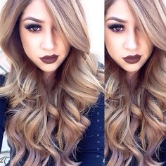 make up lipstick, hair colors, blonde highlights, makeup lips, hair makeup, dark lips, lip colors, hair color ideas, lipstick colors