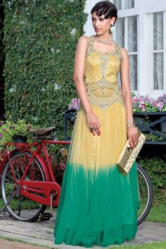 Mystical Cream And Green Color Designer Gown