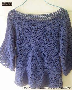 Crochetemoda: Blusa de Crochet Azul ~ Diagrams/Charts Only ~ Not in English