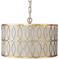 """Materials: Metal & Linen Finish: Antique Gold & Parchment  Chain length: 39.25""""  Interlocking metal finished in an antique gold is overlaid on a parchment shade for a warm, modern feel in our Peterson drum pendant."""