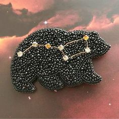 Bead Embroidered Bear with Big Dipper