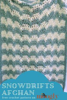 Snowdrifts Afghan: f Crochet For Beginners Blanket, Crochet Basics, Baby Blanket Crochet, Crochet Baby, Knit Crochet, Crochet Blankets, Baby Blankets, Crochet Pouch, Filet Crochet