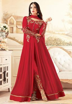 Semi-Stitched Faux Georgette and Net Abaya Style Kameez in Red This V Neck and Full Sleeve attire with Poly Shantoon Lining is Prettified with Resham, Zari, Stone and Patch Border Work Available with a Poly Shantoon Straight Pan