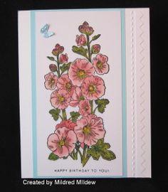 Created using Penny Black woodmount stamp Hollyhocks 4376K