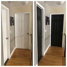Hallway doors painted black using Behr Black Mocha and walls painted with Behr Perfect Taupe.Love the outcome! Home Decor Perfect Taupe Behr, Hallway Decorating, Decorating Ideas, Black Doors, River House, Painted Doors, Home Reno, Mocha, Home Remodeling