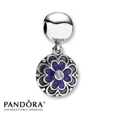 Purple Enamel & Lavender CZ Clip Sterling Silver