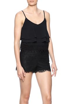 Cute black cropped tank with layered detail and a lace crocheted hem. Adjustable straps.   Lace Layered Tank by Glamorous. Clothing - Tops - Crop Tops Clothing - Tops - Sleeveless North Shore, Boston, Massachusetts