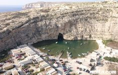 The inland sea and tunnel, Dwejra, Gozo Island, Malta - aerial view.