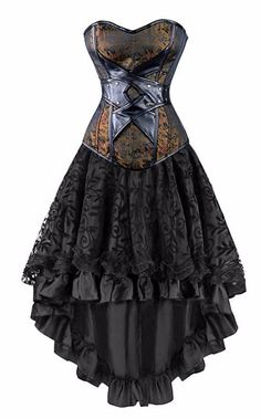 Kimring Women's 2 Pcs Vintage Gothic Victorian Brocade Overbust Corset Skirt Set - Goth Girl Store