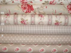 SALE Petal Fabric  by Tanya Whelan / Red /Ivory / Taupe  by mimis