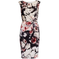 Gina Bacconi Floral Print Textured Jersey Dress, Coral ($110) ❤ liked on Polyvore featuring dresses, bodycon maxi dress, bodycon midi dress, flower print dress, coral dress and midi dress