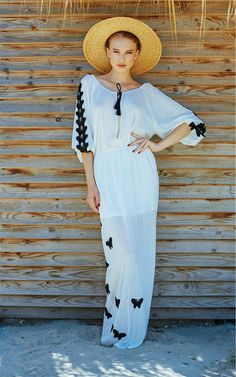 Maxi white cotton dress with embroided butterflies, created by SINE by SEILA Designer Shop. www.sinebyseila.com